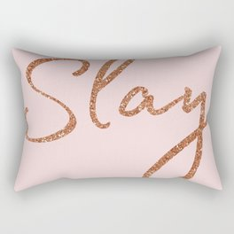Slay in Rose Gold and Pink Rectangular Pillow