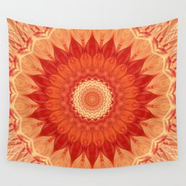 Mandala orange red Wall Tapestry