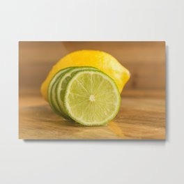 Lime slices cross section on wood Metal Print