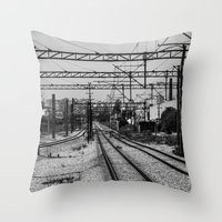train Throw Pillows featuring Train by Maressa Andrioli
