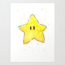 Invincibility Star Mario Watercolor Geek Gamer Art Art Print