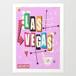Vintage Las Vegas Vacation print pink version Art Print