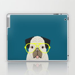 Emerson - Pug with neon Hipster Glasses, Cute Retro Dog, Dog, Husky with Glasses, Funny Dog Laptop & iPad Skin