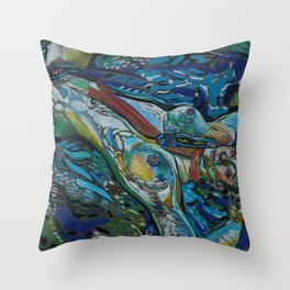Skinny Dipping in Narberth Throw Pillow