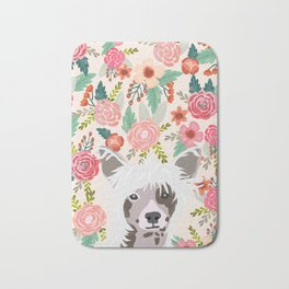 Chinese Crested floral dog breed pattern cute dog gifts for dog lovers Bath Mat
