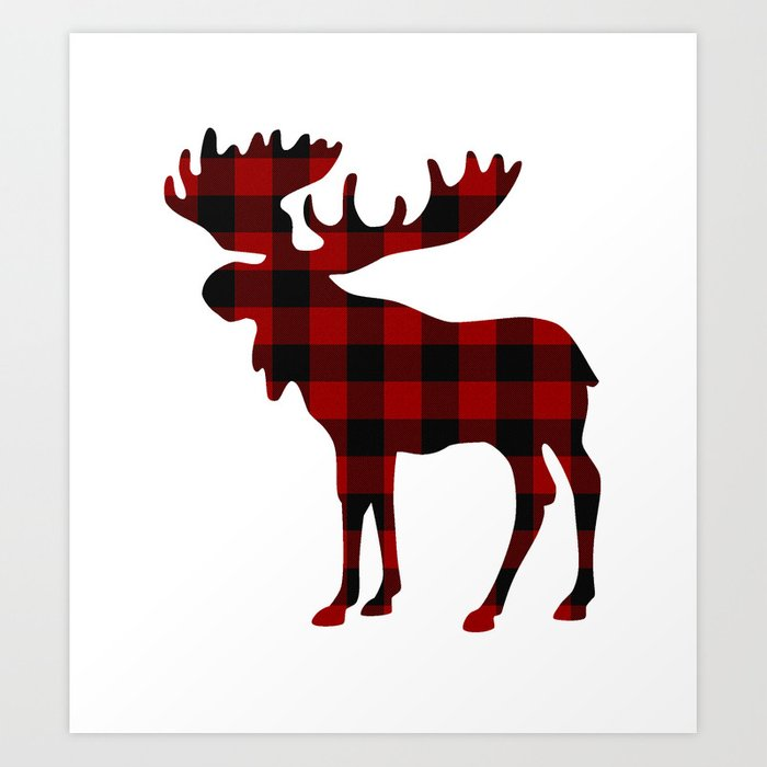 Buffalo Check Moose Art Print By Thinlinetextiles Society6