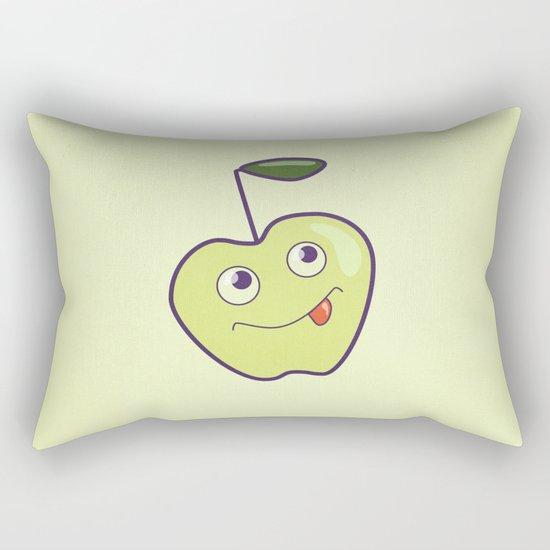 Smiling Green Cartoon Apple Rectangular Pillow