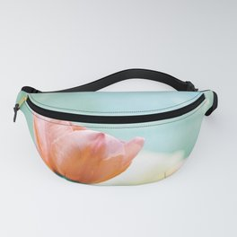 Tulip Flower Photography, Mint Teal Orange Tulips, Aqua Floral Photograph Fanny Pack