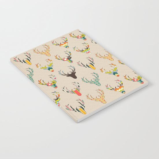 retro deer head on linen Notebook
