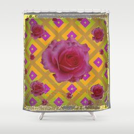GRUNGY ANTIQUE PINK ROSE PATTERN Shower Curtain