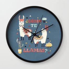 Como te Llamas. Funny Spanish Word Humor. Potted Cacti and two Llamas Wall Clock