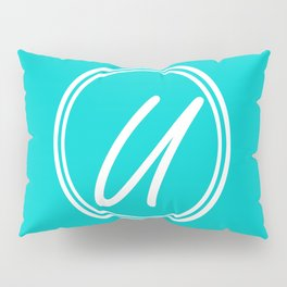 Monogram - Letter U on Cyan Background Pillow Sham