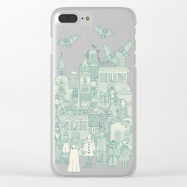 vintage halloween teal ivory Clear iPhone Case