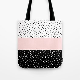 Pink white black watercolor polka dots Tote Bag