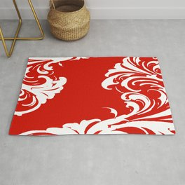 Damask Red and White Holiday Victorian Leaf Pattern Rug