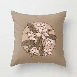 Sakura Branch - Pale Dogwood + Hazelnut Throw Pillow