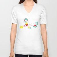 vinyl V-neck T-shirts featuring Vinyl by Samantha Eynon