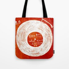 you are what you listen to, RED Tote Bag