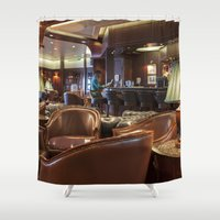 bar Shower Curtains featuring Lounge Bar by Deborah Janke