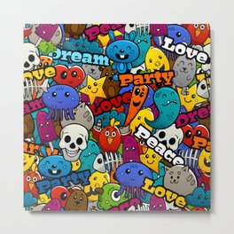 Colorful Graffiti Characters Pattern Metal Print