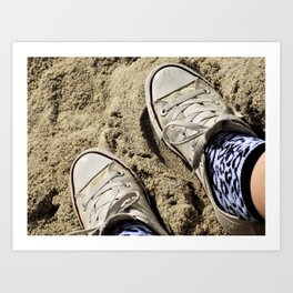 Converse on the Beach Art Print