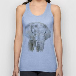 Elephant Watercolor Painting - African Animal Unisex Tank Top