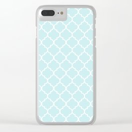 Baby Blue Quatrefoil Clear iPhone Case