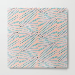 Palm Leaves Coral Metal Print