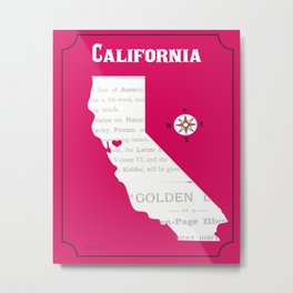 California - Skyline Illustration by Loose Petals Metal Print