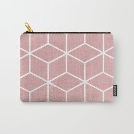 Blush Pink and White - Geometric Textured Cube Design Carry-All Pouch