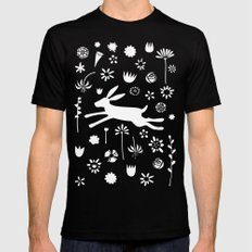 Hare in the Meadow Mens Fitted Tee MEDIUM Black