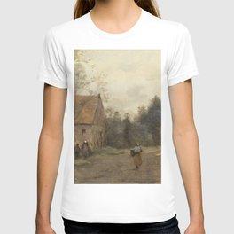 Jean-Baptiste-Camille Corot - Sin Pres de Douai, Rue du Village, Le Martin T-shirt