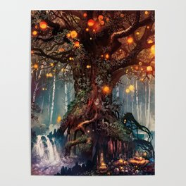 Magnificent Big Marvelous Magic Glowing Fairytale Forest Tree Light Bulbs Dreamland Ultra HD Poster