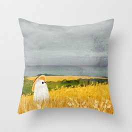 There's a ghost in the wheat field again... Throw Pillow