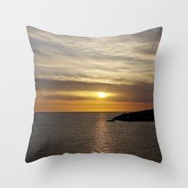 Sunset over the sea of Gaeta Throw Pillow