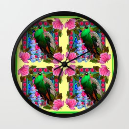 PINK ROSES & GREEN PEACOCK YELLOW GARDEN FLORAL ABSTRACT Wall Clock