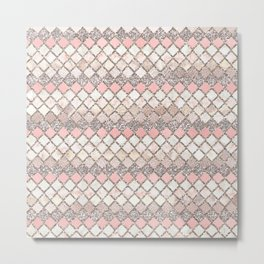 Rose Gold and Marble Decorative Square Tile Pattern Metal Print