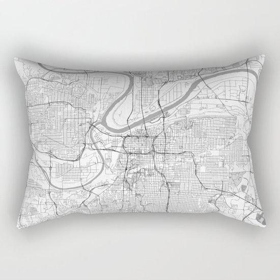 Kansas City Map Line Rectangular Pillow