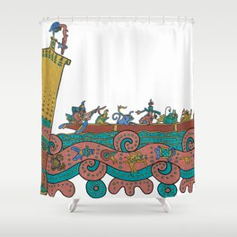 Puerto Morelos Light House Antique Mexican Style Shower Curtain