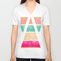 gold glitter V-neck T-shirts featuring Modern Stripes Pink Red Watercolor Gold Glitter by Girly Trend