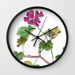 Geranium Botanical Wall Clock