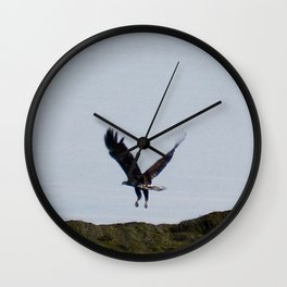 Osprey In Flight on the Ocean Wall Clock
