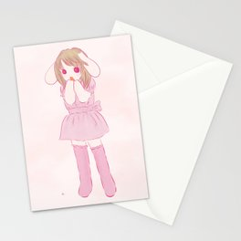 lop ear rabbit girl Stationery Cards