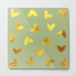 gold heart pattern Metal Print