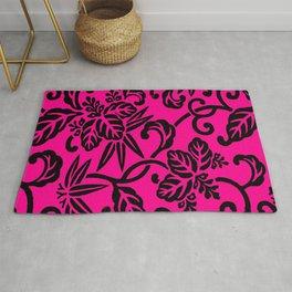 Hot Pink & Black Japanese Leaf Pattern Rug