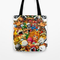 mario bros Tote Bags featuring Super Mario Bros. Battle by Magik Tees