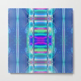 neon teleporter portal LED lights science aesthetic abstract art print Metal Print