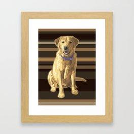 Happy Yellow Labrador Retriever Retro Framed Art Print