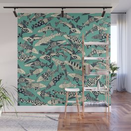 shark party jade Wall Mural
