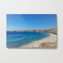 Cavo Paradiso is one of the most famous beaches in Mykonos, Greece Metal Print
